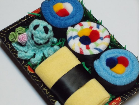 Baby Boy Shower Gift - Baby Sushi New Mom Gift - Blue Octopus