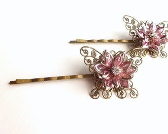 Pink Bobby Pins, Butterfly Bobby Pins, Flower Bobby Pins, Pink Hair Accessory, Filigree Butterfly, Bobby Pin Set