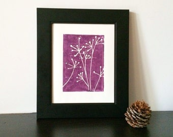 Purple Dusty Lavender Botanical Naturalist Decor Linocut POSTER Flowers Print 8x10