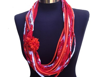 Bright colors pattern women scarf necklace-red fushia orange white-winter eco friendly recycle infinity necklace-women gift-textile jewelry