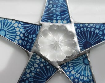 Indigo Daisy Star- 9.5 inch lacquered fabric on glass with vintage chandelier finding center