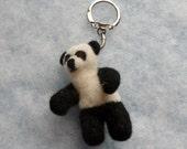 Needle felt panda bear keychain