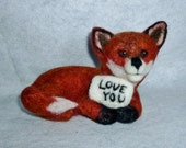 Red Fox needle felted soft sculpture collectible gift 5 inches long