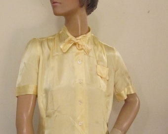 50's Lemon Yellow Satin Blouse Mad Men