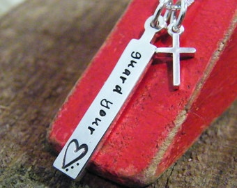 biblical guidance necklace, guard your heart hand stamped sterling silver with cross