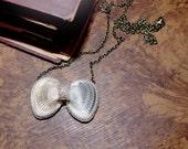 Bow Pendant Necklace, Natural Seashells Necklace, Linen Crochet Shells, Seashells Bow