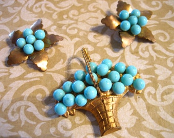 Vintage Demi-Parure Basket Brooch and Matching Earring Set
