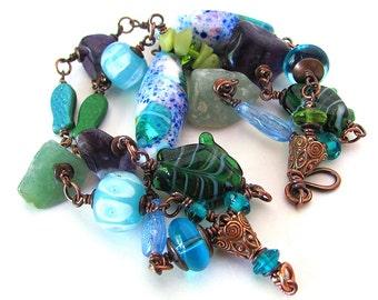 Ocean lampwork bracelet gemstone bracelet fish bracelet unique lampwork fish bracelet gemstone and lampwork bead bracelet