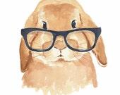 Lop Eared Rabbit Watercolor - 5x7 Print, Hipster Glasses, Nursery Art