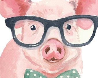 Pig Watercolor Print - 5x7 Print, Nerd Glasses, Reading, Nursery Art, Pig Painting
