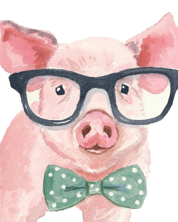 pig watercolor print 5x7 print nerd glasses reading prodigal son clip art kids prodigal son black and white clipart
