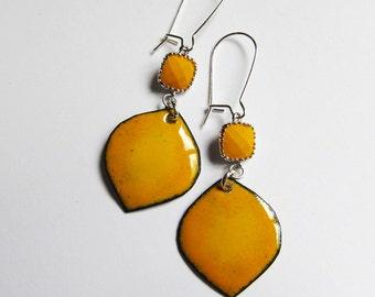 Yellow leaf dangle earrings Bohemian jewelry Colorful enamel jewelry Boho yellow drop earrings Silver kidney wires