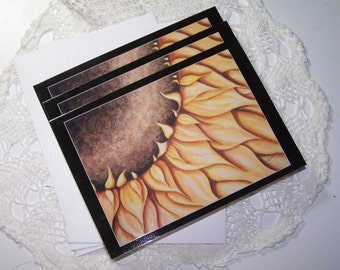 3 Pack of Fine Art Sunflower Greeting Cards Blank Inside Notecards Art Watercolor Flower Card Summer Autumn Gift w/ Envelopes Letter