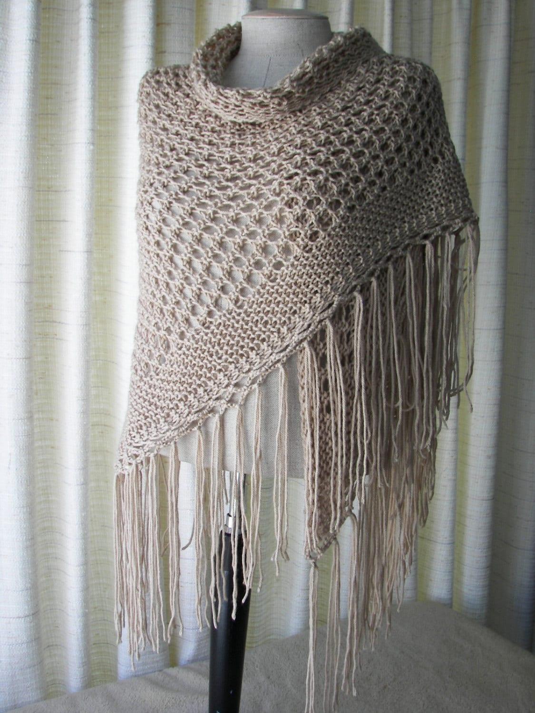 Cappuccino la main en tricot ch le triangle foulard par atidesign - Tricot a la main ...