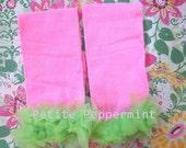 Baby Leg Warmers, Baby Leggings - Pink Green Ruffle Leg Warmers
