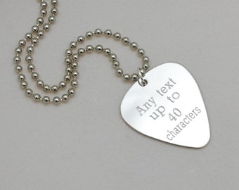 custom engraved guitar pick necklace --- your custom message up to 40 characters
