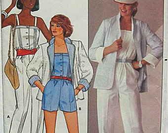 Vintage 80's Misses' Retro Jumpsuit and Reversible Jacket, Butterick 6460 Sewing Pattern UNCUT Size 8