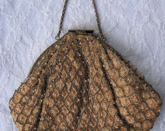 50s-60s Evening Purse / Tiny Seed Pearls and Beads with Netted Lace / Bridal Purse / Opera Purse