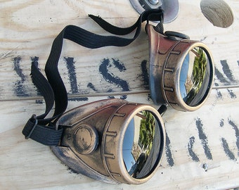 STEAMPUNK GOGGLES - Antiqus Brass Gold Distressed-Look Welders Burning Man Goggles