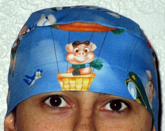 Handmade Blue Skull or Chemo Cap With Flying Pigs, Alopecia, Children, Hair Loss, Bald, Biker, Motorcycle, Hats, Head Wrap, Head Cover,Pigs