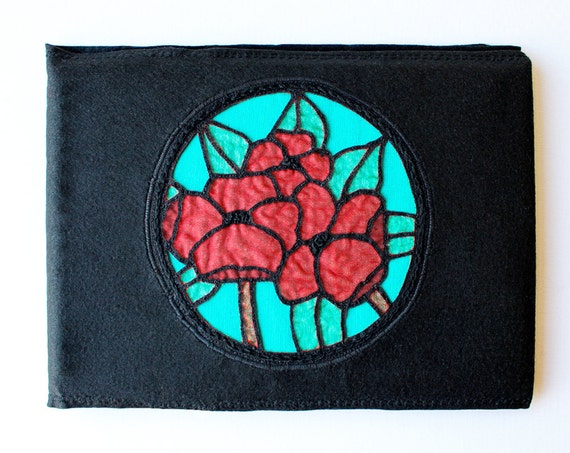 Poppy Keepsake Book - Exquisite Poppies Memory Book or Guest Book - Stained Glass Poppy Design