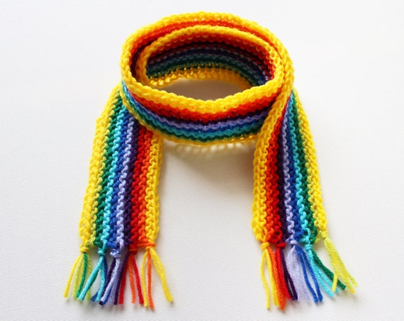 Yellow Rainbow Pixie Scarf - Rainbow Scarf for Kids - Winter Classic Scarf for a Child