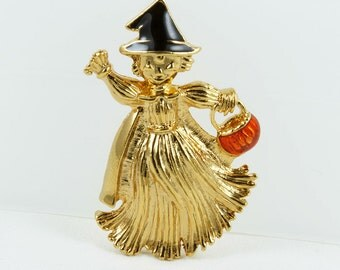 Vintage Halloween Avon Girl Scarcrow Brooch Pin, Enamelled Hat and Candy Pumpkin Basket