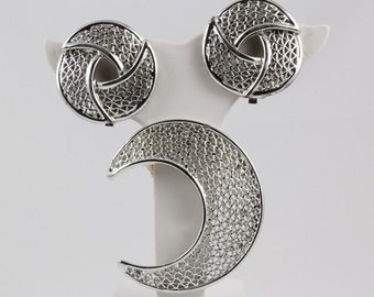 Brooch and Clip On Earrings, signed Sarah Coventry Silver Filigree Circle Earrings, Half Moon Brooch, Jewelry Set, Abstract Design,