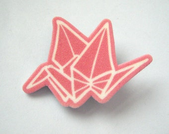 Shrinky plastic pink crane origami brooch pin