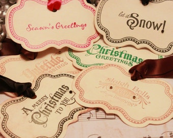Christmas Tags (Doubled Layered) - Vintage Christmas Tags Assortment (A4) - Handmade Vintage Inspired Christmas Gift Tags - Set of 12