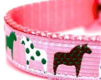 Pink Polka Dot Dala Horse Dog Collar / Adjustable Dog Collar / Ribbon Dog Collar