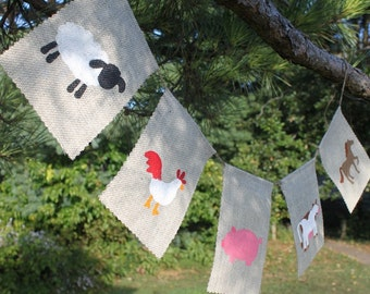 Farm Animals Banner, Nursery banner, classroom deco, classroom banner, cow, pig, rooster, horse, sheep, farm - Made to Order