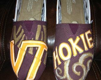 Custom Painted Virginia Tech Toms