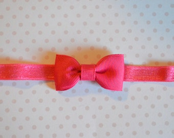 Shocking Pink Baby Bow Headband. Tiny Pink Bow Headband. Baby Hair Accessories. Baby Girls Hair Accessories. Baby Bow Headband. Hot Pink