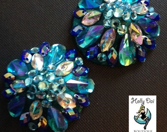 Blue Aurora Rhinestone BURLESQUE couture pasties