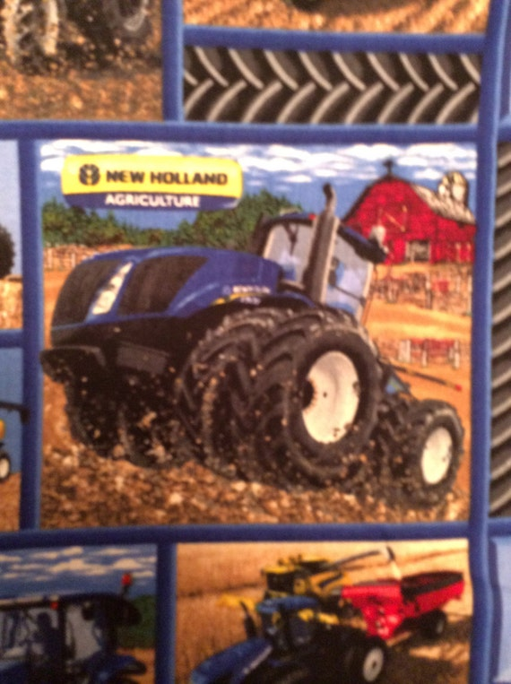 New Holland Tractor Fabric : A wonderful new holland tractors on the farm blocks cotton