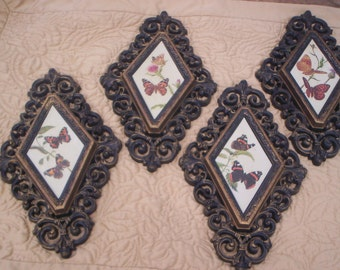 Vtg 1976 Lot 4 Ornate Victorian Spanish Scroll Look Syroco Style Framed Butterfly Prints Fancy Diamond Shape Plaques