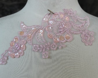Cute embroidered  and beaded organza flower   applique  1  pieces listing