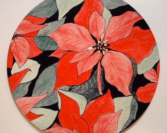 Poinsettia Trivet, Holiday gift, Flower Lover gift, Centerpiece, Christmas gift, Holiday table
