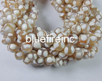 38pcs 10mm round faceted hand paint Tibatan agate beads