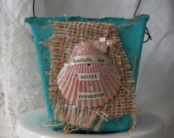 Altered Peat Pot Beach Cottage Style in Turquoise Embellished with Seashell and Vintage Seahorse