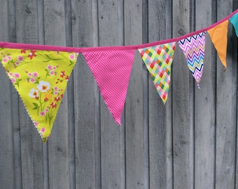 Fabric Bunting Flags Party Banner fabric pennants Happy Birthday banner retro lime flowers, neon argyle, dots, chevron party decoration