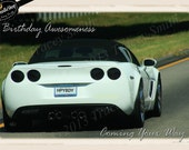 White sportscar birthday card clipart, scrapbooking, invitations, party, printables