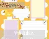 Scrapbook Page, teddy bear, duck, journal spots, instant download