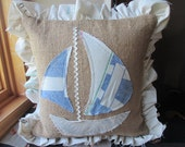 Decorative pillow from upcycled burlap and vintage feedsacks