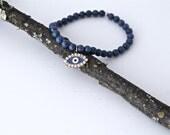 Lapis Lazuli Beaded Charm Bracelet, Evil Eye Charm with Swarovski Crystals