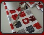 "Napkins - Robert Kaufman Metro Cafe Red Coffee Mugs Print -  Set of 4  - 10"" x 10""  Cocktail Beverage Dessert Luncheon"