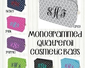 Personalized Monogrammed Quatrefoil Cosmetic Bag, Makeup Case - Bridesmaid, Wedding, Graduation, Birthday Gift