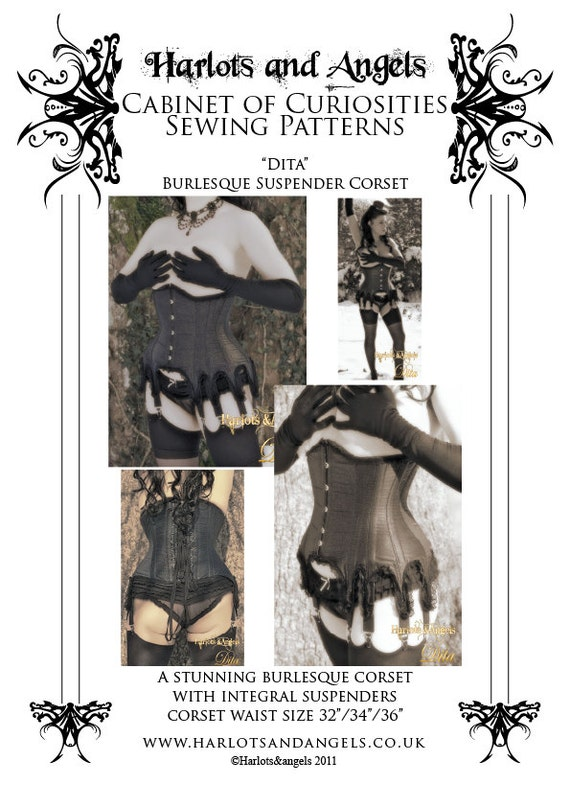 Burlesque Underbust Corset Paper Sewing Pattern with suspenders Garters  LARGE