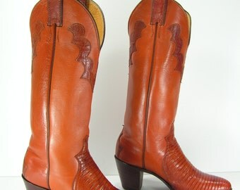 vintage cowboy boots womens 6.5 b m brown knee high lizard justin leather western cowgirl